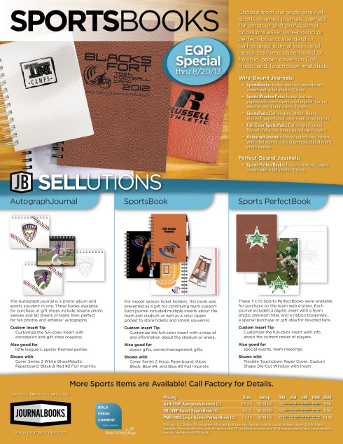 JournalBooks - Sports Journals Special. Price reduced to end column on all orders.