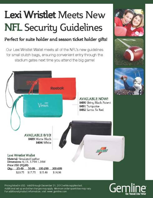Gemline's Lexi Wristlet Wallet meets all of the NFL's new guidelines for small clutch bags.
