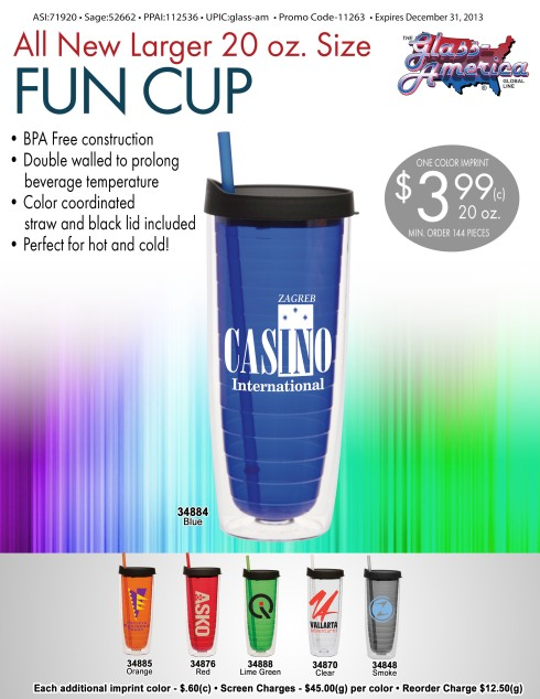 BPA Free Plastic Tumbler with color Interior fun cup and straw is perfect for both hot and cold beverages.