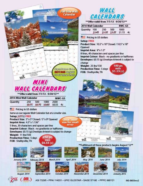 2014 Wall Calendars - have you seen the graphics on these?