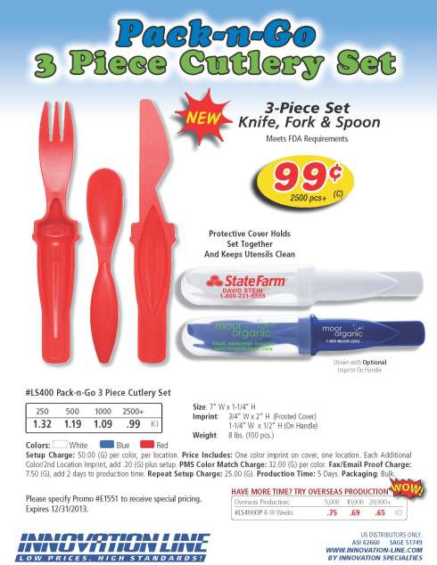 3-Piece Set with Knife, Fork & Spoon. Protective Cover Holds Set Together and Keeps Utensils Clean. Meets FDA Requirements.