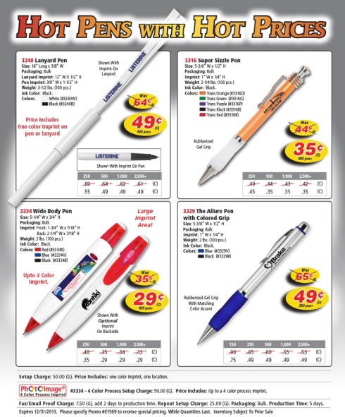 Help Put the Fire out on these Hot Pen Prices