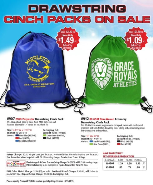 Cinch to Close a Deal with our Drawstring Cinch Packs