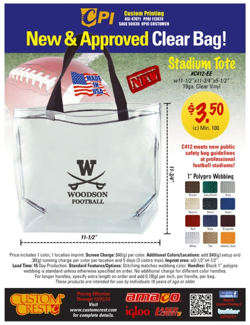 A Clear Choice in Pro Football Stadium Bags from Custom Crest!