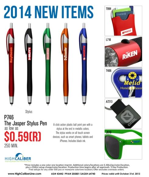 New for 2014    $0.59 Jasper Stylus Pen
