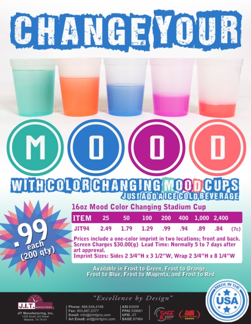 Color Changing Mood Cups Made In USA from JIT Promo.