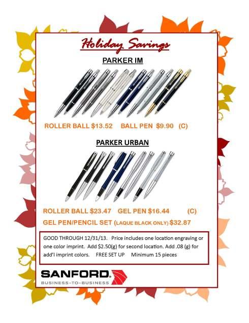 Holiday Specials on Parker Pens