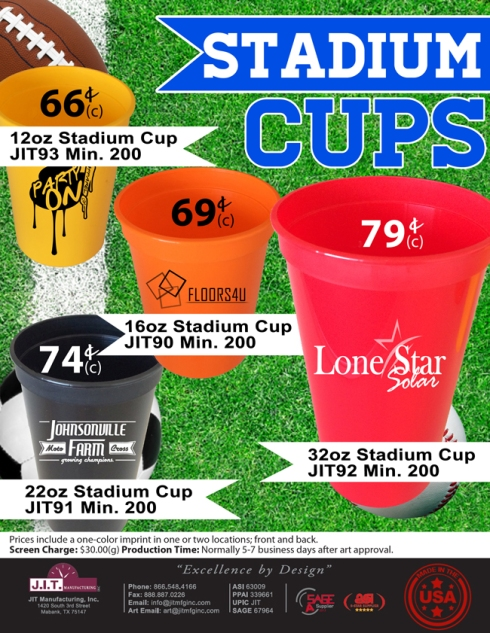 Stadium Cups Made In USA with Low Minimums
