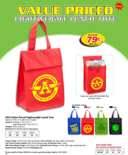 Light Weight Lunch Tote Bag. It Secure your meals with the foldable flap and velcro closure.  Colors : Royal, Red, Lime and Black