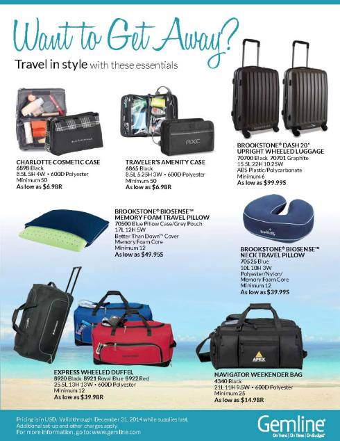 Travel in style with Gemline's wide selection of on-the-go essentials.