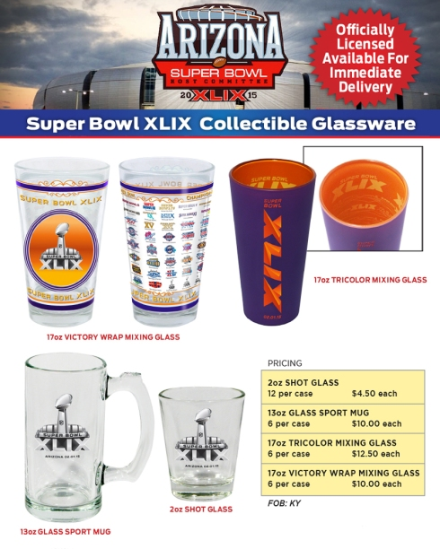Super Bowl XLIX Collectible Glassware.
