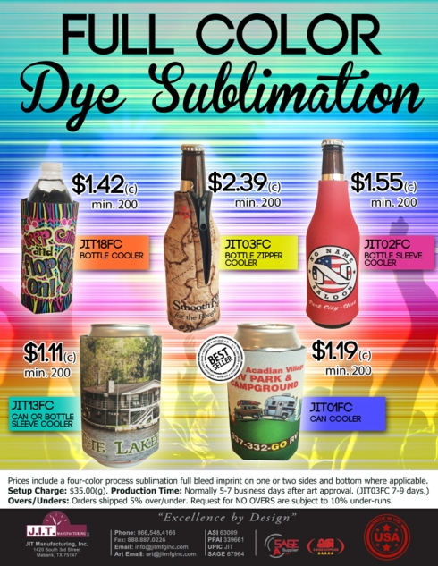 Full Color Can & Bottle Coolies from JIT Promo