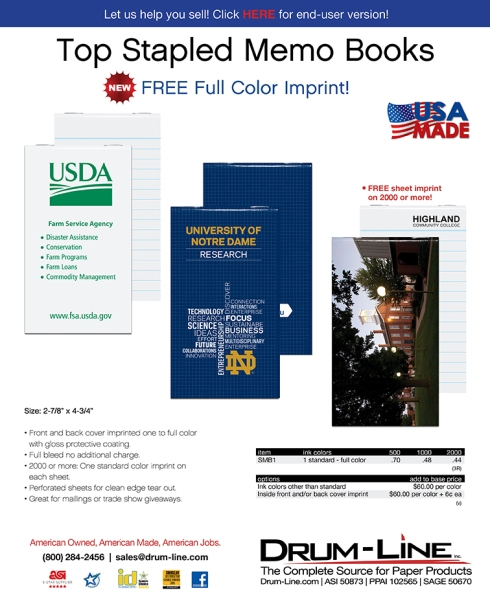 USA Made Top Stapled Memo Books...FREE Full Color Imprint!