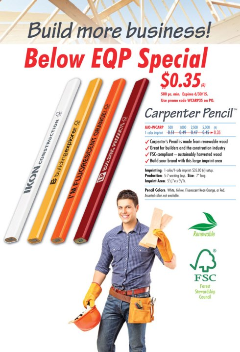 FSC-compliant – sustainably harvested wood Carpenter's Pencil is made from renewable wood Great for builders and the construction industry! BIG pencil – BIG IMPACT!