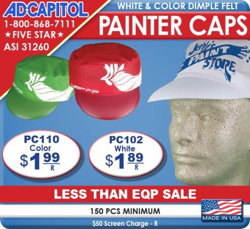 White & Color Dimple Felt Painter Caps Under $2 Printed! Less than EQP.