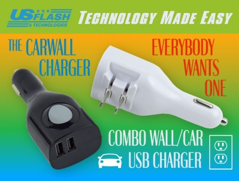 The Carwall 2 In 1 USB Car And Wall Charger